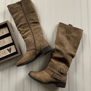 Baretraps Distressed Taupe Knee High Boot